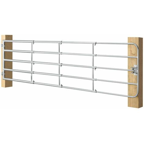 Juskys Weidezauntor SafeGate L aus verzinktem Stahl, Scharniere & Riegel 400 x 90 cm