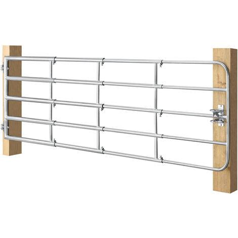 Juskys Weidezauntor SafeGate M aus verzinktem Stahl, Scharniere & Riegel 300 x 90 cm