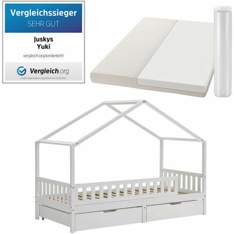 Juskys Yuki Kinderbett 90x200 - Komplett Set mit Matratze, Rausfallschutz, Bettkasten & Lattenrost – Holz Bett für Kinder – Hausbett Jungen & Mädchen