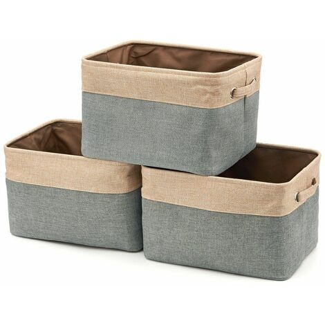 Jute Cotton Foldable Storage Box with Handle, Laundry Basket, Wardrobe, Walk-in Closet, Wardrobe - Set of 3, Gray and Beige