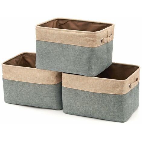 "main image of ""Jute Cotton Foldable Storage Box with Handle, Laundry Basket, Wardrobe, Walk-in Closet, Wardrobe - Set of 3, Gray and Beige"""