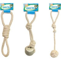 Jute Rope with Knotted Ball Dog Puppy Toy Fetch Throw Chew