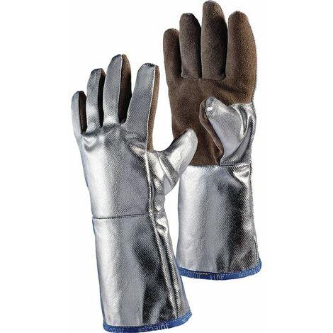 JUTEC Hitzehandschuhe 5-Fingerhandschuh aus braunem Spaltleder aluminisiert Länge 38cm Kat.III natur/silber EN388/407