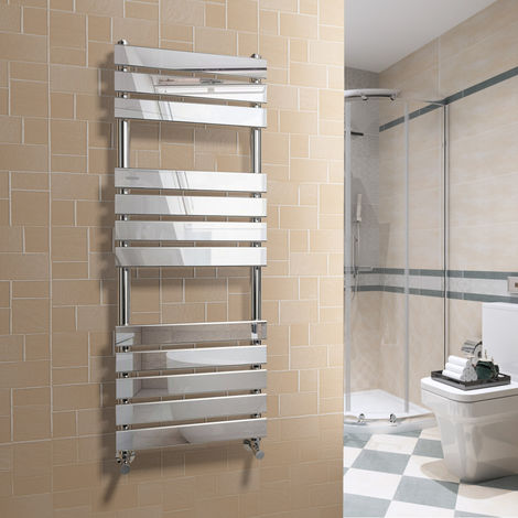 Juva 1200 x 450mm Chrome Flat Panel Heated Towel Rail