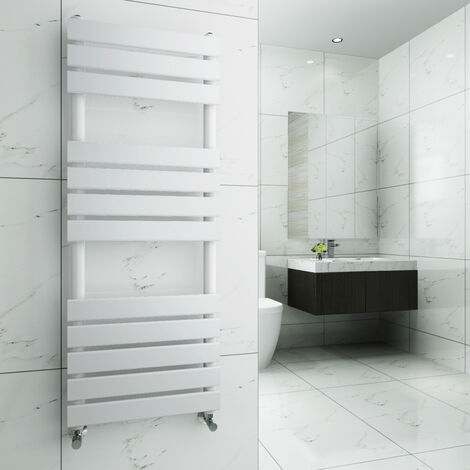Juva 1200 x 500mm White Flat Panel Heated Towel Rail