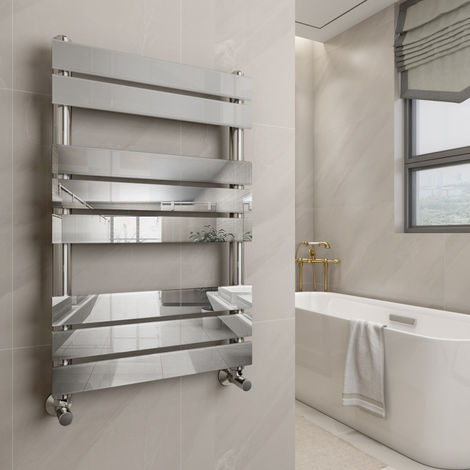 Juva 800 x 500mm Chrome Flat Panel Heated Towel Rail