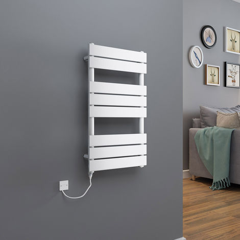 Juva 800 x 450 mm White 300 W Electric Flat Panel Heated Towel Rail - please select - please select
