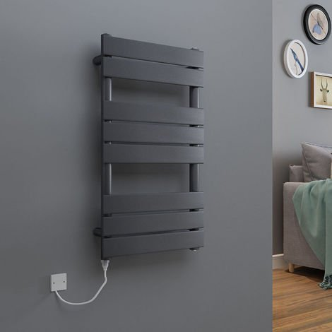 Juva Flat Panel Heated Towel Rail + Thermostatic & Manual Elements