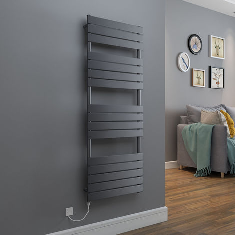 Juva Flat Panel Heated Towel Rail + Thermostatic & Manual Elements