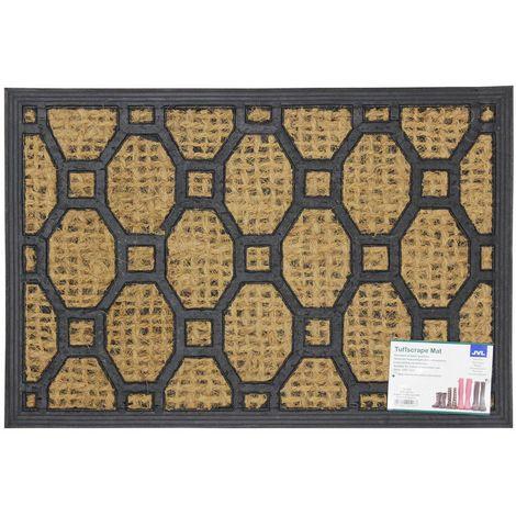 JVL Alba Woven Tuffscrape Rubber Coir Entrance Door Mat, 40 x 60 cm