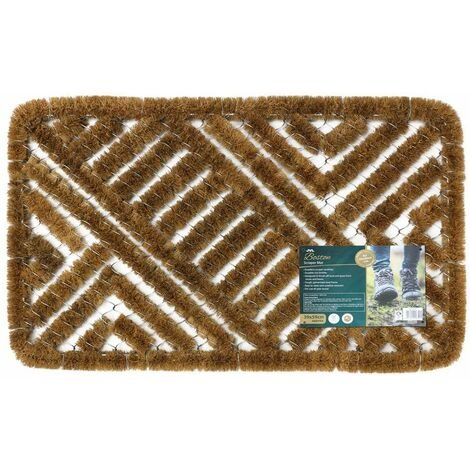 JVL Boston Natural Coir Steel Scraper Outdoor Entrance Floor Door Mat, 45 x 75 cm