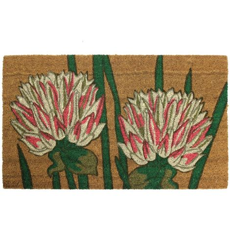 JVL Garden Themed Latex Backed Natural Coir Entrance Door Mat