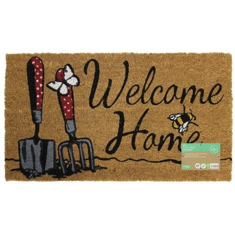 JVL Gardening Themed Latex Backed Natural Coir Entrance Door Mat