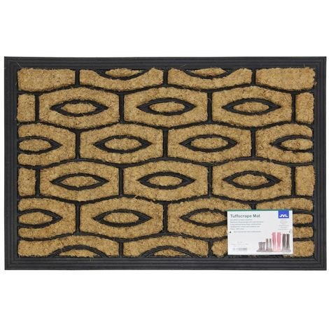 JVL Heavy Duty Rubber Coir Tuffscrape Outdoor Door Mat, 40 x 60 cm