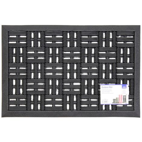 JVL Heavy Duty Trellis Rubber Entrance Door Mat, 40 x 60 cm
