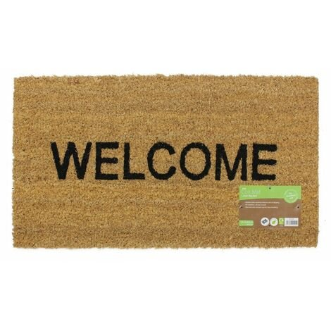 JVL Heavy Duty Welcome PVC Backed Coir Entrance Door Mat, 33.5 x 60 cm