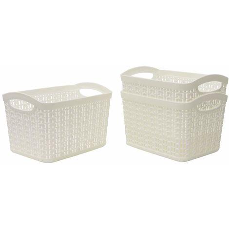 JVL Knit Design Loop Plastic Set of 3 Rectangular Storage Baskets 1.5L, Ivory 11 x 17 x 13 cm