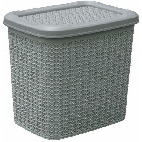 JVL Knit Design Loop Plastic Storage Box 10L, Grey 27 x 29 x 21 cm