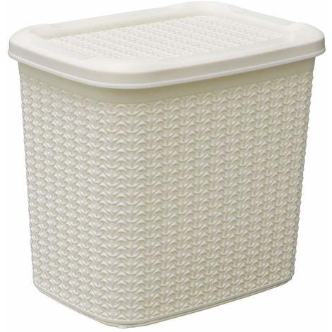 JVL Knit Design Loop Plastic Storage Box 10L, Ivory 27 x 29 x 21 cm