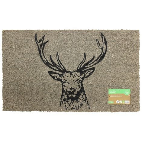 JVL Neutral Animal Themed Latex Backed Coir Entrance Door Mat