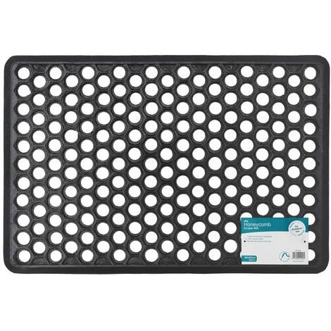 JVL Outdoor Honeycomb Rubber Ring Entrance Floor Door Mat, 40 x 60 cm
