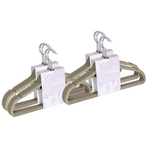 JVL Premium Range Velvet Touch Space Saving Non-Slip Hangers, Large Beige