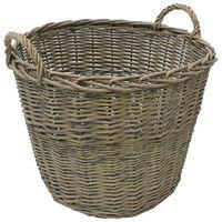 JVL Rustic Grey Washed Willow Wicker Log Toy Storage Basket