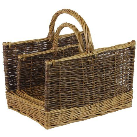 JVL Set of 2 Two Tone Rectangular Willow Log Baskets