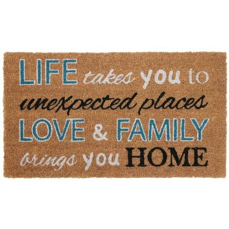 JVL Simple Quotes Latex Backed Coir Entrance Door Mat