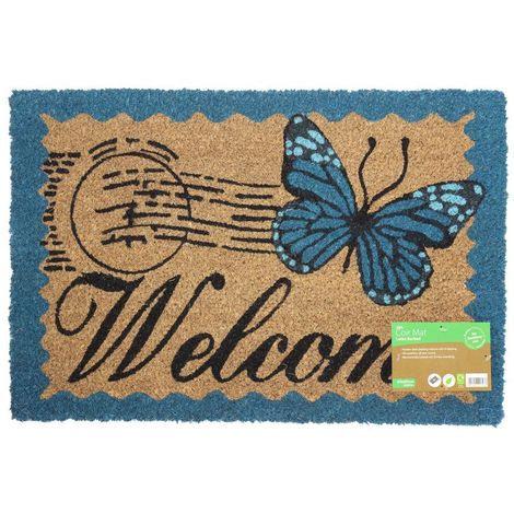 JVL Vintage Themed Latex Backed Coir Entrance Door Mat