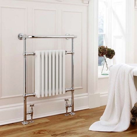 K-Rad Crown Floor Standing Traditional Heated Towel Rail 945mm x 675mm