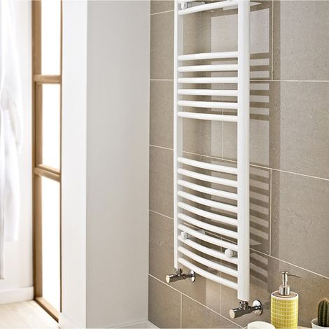 Kartell White 800mm x 300mm Curved 22mm Towel Rail - CTR308W
