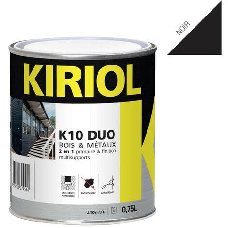 K10 DUO NOIR BRILLANT 0,75L - Primaire/finition à base de résines alkydes - KIRIOL