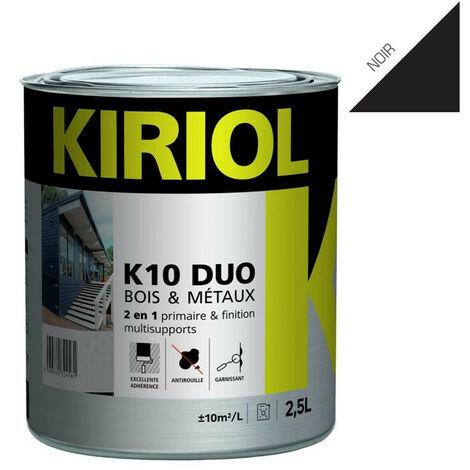 K10 DUO NOIR BRILLANT 2,5L - Primaire/finition à base de résines alkydes - KIRIOL