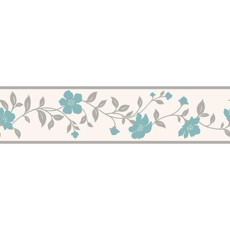K2 Cassia Floral Teal Wallpaper Border