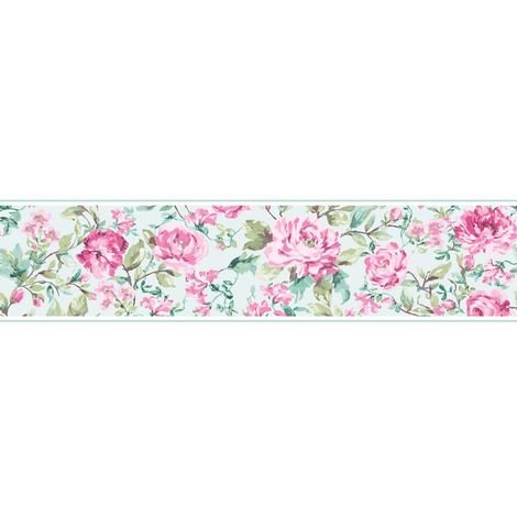 K2 Floral Flowers Roses Wallpaper Border Country House Pink Duck Egg Vintage