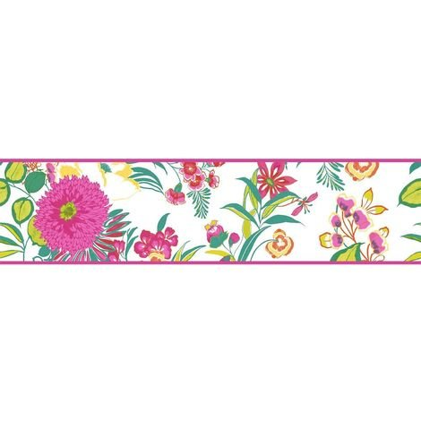 K2 Floral Flowers Wallpaper Border Bright Modern White Pink Green Yellow