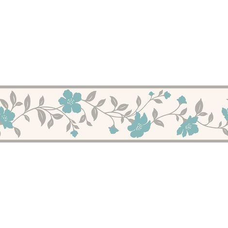 K2 Floral Flowers Wallpaper Border Teal Grey White Silver Metallic Bright Modern