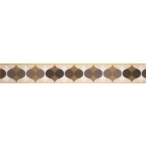 K2 Geometric Wallpaper Border Ornament Retro Chocolate Brown Cream Peel Stick