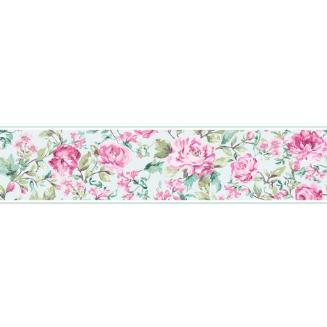 K2 Megan Floral Duck Egg/ Pink Wallpaper Border