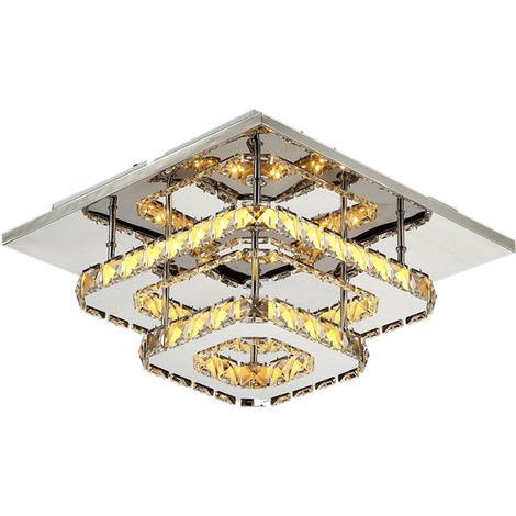 K9 Crystal Ceiling Light Modern 2 Tiers Crystal Chandeliers with Crystal Chrome Finish,Elegant Ceiling Lighting for Bedroom, Living Room, Bathroom, Hallway (Warm)