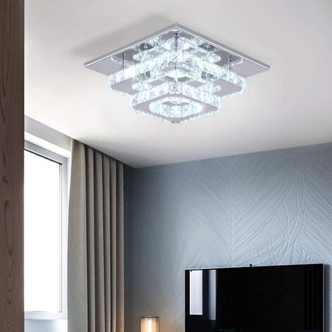K9 Crystal Ceiling Light Modern 2 Tiers Crystal Chandeliers with Crystal Chrome Finish,Elegant Ceiling Lighting for Bedroom, Living Room, Bathroom, Hallway (White)