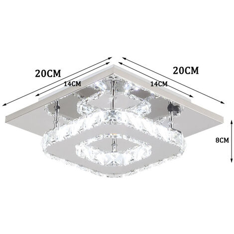 K9 Crystal Chandelier Clear Glass Ceiling Lamp LED Modern Ceiling Light for Living Room Bedroom Office Cool White