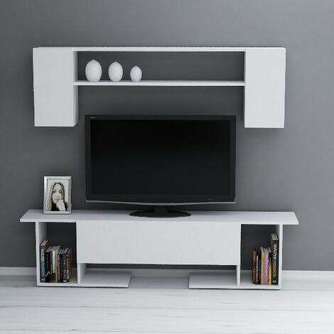 Kaan Mueble TV con mesa de cafe, puertas, estantes - para la sala de estar - Blanco en Madera, 180 x 31,5 x 45 cm