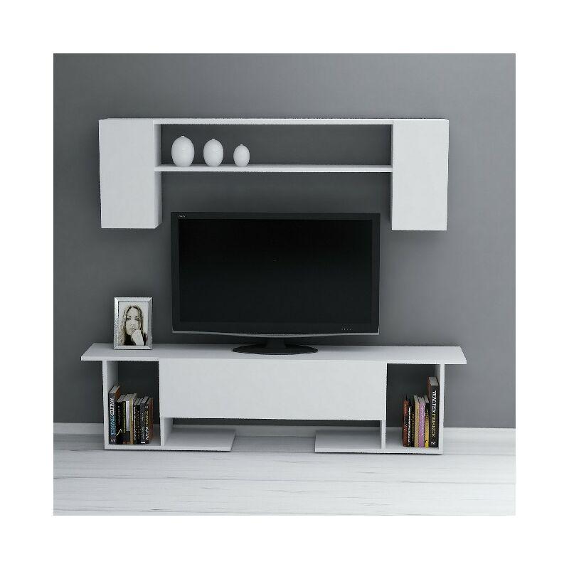 Kaan TV-Schrank mit Couchtisch, Tueren, Regalen - fuer das Wohnzimmer - Weiss aus Holz, 180 x 31,5 x 45 cm - HOMEMANIA