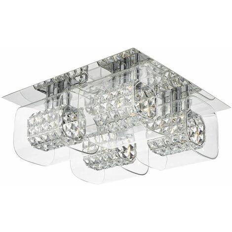 KABUKI polished chrome and crystal ceiling light 4 bulbs