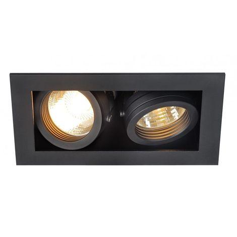 KADUX 2 GU10 encastré carré, noir, max. 2x50W