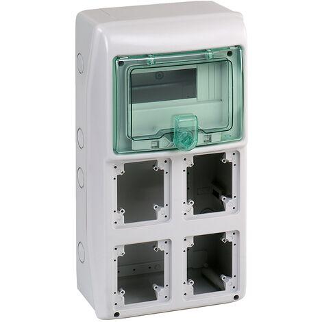 Kaedra - coffret - pour prises - 236 x 460 mm - 8 modules - 4 ouvertures - 13154