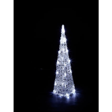 Kaemingk Everlands - 60cm Mains Operated Indoor & Outdoor Acrylic Pyramid Christmas Decoration - 30 Cool