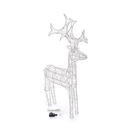 Outdoor Reindeer Christmas Decoration - Cool White - 90cm